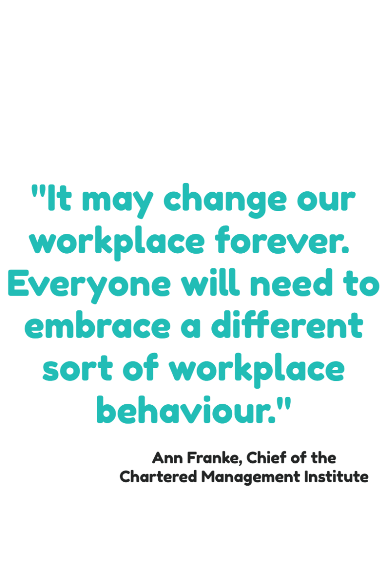"Quote from Ann Frankw about how the Corona Virus is changing how we work, particularly around remote working - ""It may change our workplace forever. Everyone will need to embrace a different sort of workplace."""