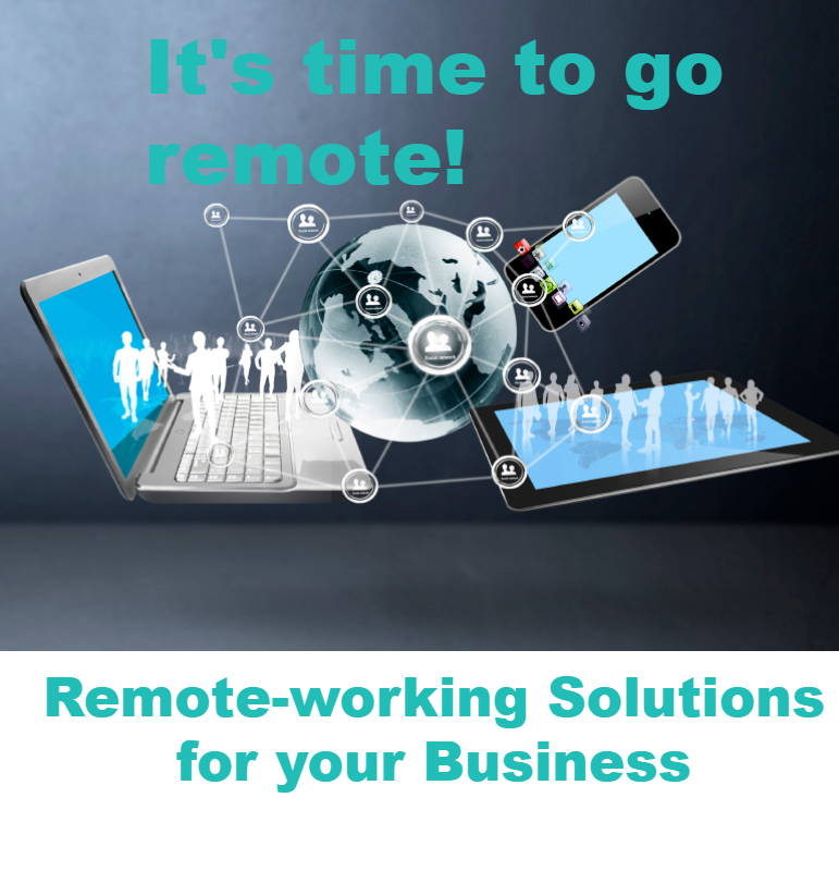 Image of an open laptop with a stylised globe, phone, people and network points. Caption reads Remote Working Solutions for Your Business, reinforcing Syscomm's ability to help businesses transition their employees to remote working