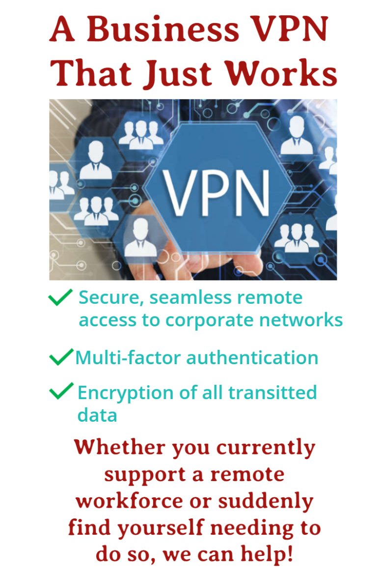 Image with VPN written in a hexagon shaped box. Text headline is A Business VPN That Just Works