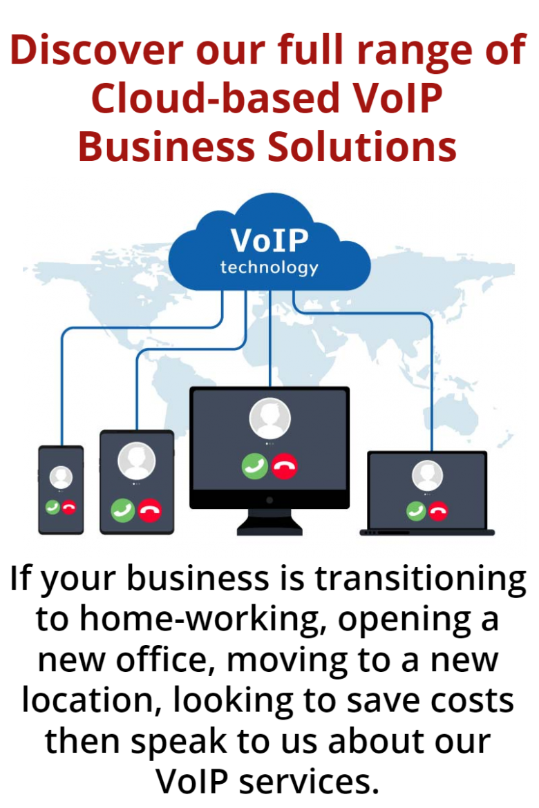 Image shows Voice over IP technology that Syscomm can supply - office phone, computer and laptop connected by IP services