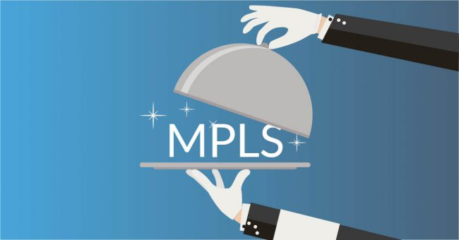 Serving dish with a waiter revealing an MPLS 'meal'.  image supports the content by graphically illustrating that businesses looking at investing in an MPLS network should ask the right questions so that they fully understand the service that they are purchasing