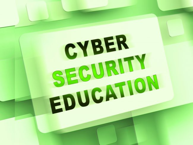 Green background image with the words cyber security education