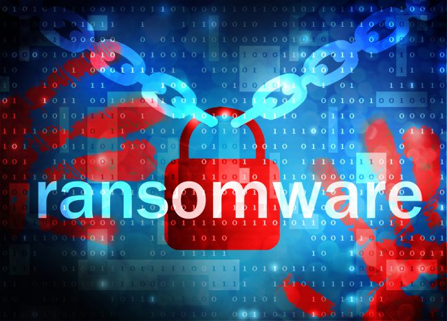 Ransomware text overlaying a chain and locked padlock